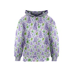 Liliac Flowers And Leaves Pattern Kids  Zipper Hoodie by TastefulDesigns