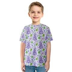 Liliac Flowers And Leaves Pattern Kid s Sport Mesh Tee by TastefulDesigns