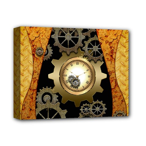 Steampunk Golden Design With Clocks And Gears Deluxe Canvas 14  X 11  by FantasyWorld7