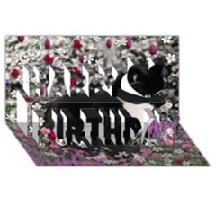 Freckles In Flowers Ii, Black White Tux Cat Happy Birthday 3d Greeting Card (8x4)