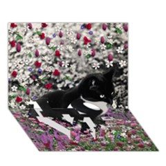 Freckles In Flowers Ii, Black White Tux Cat Love Bottom 3d Greeting Card (7x5)  by DianeClancy