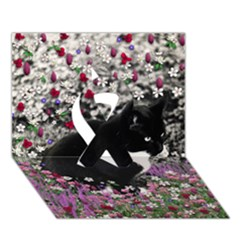 Freckles In Flowers Ii, Black White Tux Cat Ribbon 3d Greeting Card (7x5)  by DianeClancy