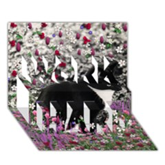 Freckles In Flowers Ii, Black White Tux Cat Work Hard 3d Greeting Card (7x5)  by DianeClancy