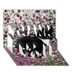 Freckles In Flowers Ii, Black White Tux Cat Thank You 3d Greeting Card (7x5)  by DianeClancy