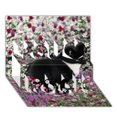 Freckles In Flowers Ii, Black White Tux Cat You Rock 3d Greeting Card (7x5)  by DianeClancy