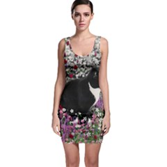 Freckles In Flowers Ii, Black White Tux Cat Sleeveless Bodycon Dress by DianeClancy