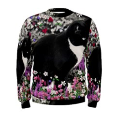 Freckles In Flowers Ii, Black White Tux Cat Men s Sweatshirt by DianeClancy