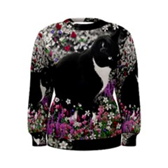 Freckles In Flowers Ii, Black White Tux Cat Women s Sweatshirt by DianeClancy