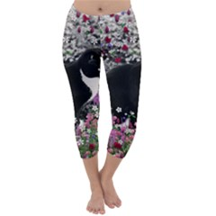 Freckles In Flowers Ii, Black White Tux Cat Capri Winter Leggings  by DianeClancy