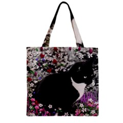 Freckles In Flowers Ii, Black White Tux Cat Zipper Grocery Tote Bag by DianeClancy