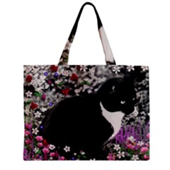 Freckles In Flowers Ii, Black White Tux Cat Zipper Mini Tote Bag by DianeClancy