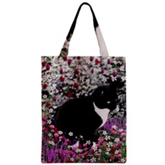 Freckles In Flowers Ii, Black White Tux Cat Zipper Classic Tote Bag by DianeClancy