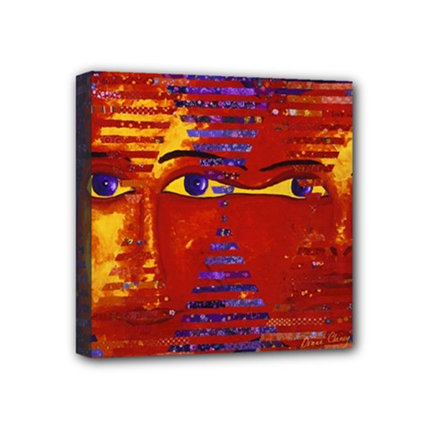 Conundrum Iii, Abstract Purple & Orange Goddess Mini Canvas 4  X 4  by DianeClancy
