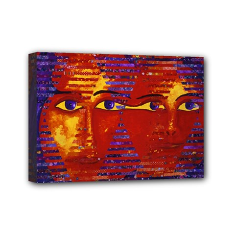 Conundrum Iii, Abstract Purple & Orange Goddess Mini Canvas 7  X 5  by DianeClancy