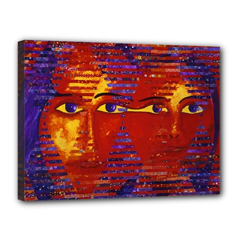Conundrum Iii, Abstract Purple & Orange Goddess Canvas 16  X 12  by DianeClancy