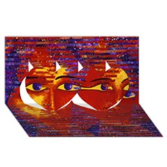 Conundrum Iii, Abstract Purple & Orange Goddess Twin Hearts 3d Greeting Card (8x4)  by DianeClancy