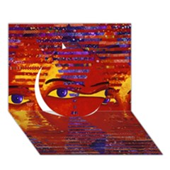 Conundrum Iii, Abstract Purple & Orange Goddess Circle 3d Greeting Card (7x5)  by DianeClancy