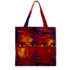 Conundrum Iii, Abstract Purple & Orange Goddess Zipper Grocery Tote Bag by DianeClancy