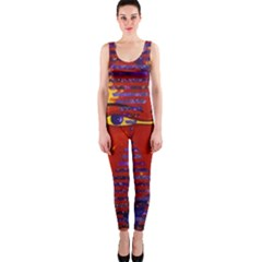 Conundrum Iii, Abstract Purple & Orange Goddess Onepiece Catsuit by DianeClancy