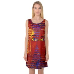 Conundrum Iii, Abstract Purple & Orange Goddess Sleeveless Satin Nightdress by DianeClancy