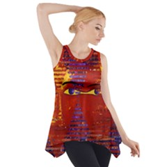 Conundrum Iii, Abstract Purple & Orange Goddess Side Drop Tank Tunic by DianeClancy
