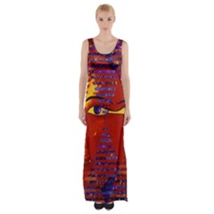 Conundrum Iii, Abstract Purple & Orange Goddess Maxi Thigh Split Dress by DianeClancy