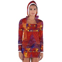 Conundrum Iii, Abstract Purple & Orange Goddess Women s Long Sleeve Hooded T Shirt by DianeClancy