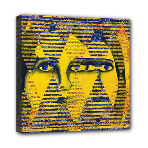 Conundrum Ii, Abstract Golden & Sapphire Goddess Mini Canvas 8  X 8  by DianeClancy
