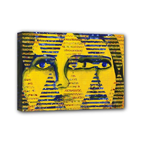 Conundrum Ii, Abstract Golden & Sapphire Goddess Mini Canvas 7  X 5  by DianeClancy