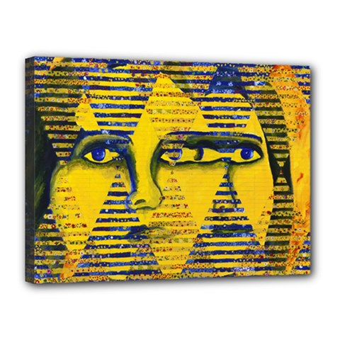 Conundrum Ii, Abstract Golden & Sapphire Goddess Canvas 16  X 12  by DianeClancy