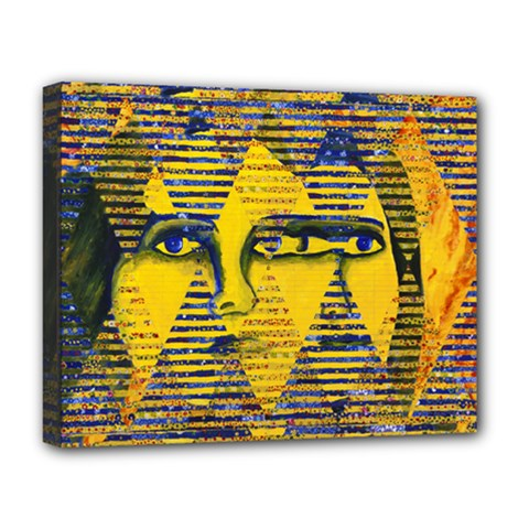 Conundrum Ii, Abstract Golden & Sapphire Goddess Deluxe Canvas 20  X 16   by DianeClancy