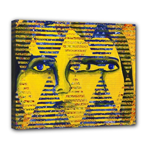 Conundrum Ii, Abstract Golden & Sapphire Goddess Deluxe Canvas 24  X 20   by DianeClancy