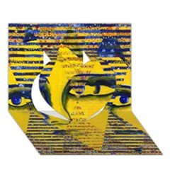 Conundrum Ii, Abstract Golden & Sapphire Goddess Heart 3d Greeting Card (7x5)  by DianeClancy