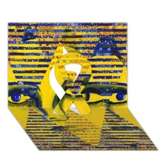 Conundrum Ii, Abstract Golden & Sapphire Goddess Ribbon 3d Greeting Card (7x5)  by DianeClancy