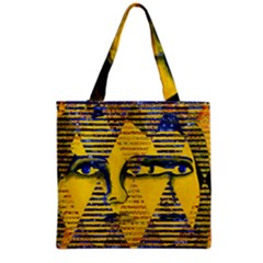 Conundrum Ii, Abstract Golden & Sapphire Goddess Grocery Tote Bag by DianeClancy