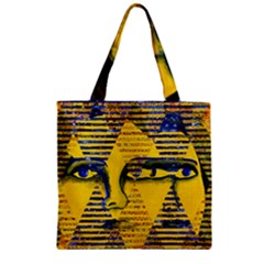 Conundrum Ii, Abstract Golden & Sapphire Goddess Zipper Grocery Tote Bag by DianeClancy
