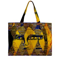 Conundrum Ii, Abstract Golden & Sapphire Goddess Zipper Mini Tote Bag by DianeClancy