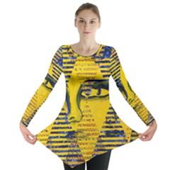 Conundrum Ii, Abstract Golden & Sapphire Goddess Long Sleeve Tunic