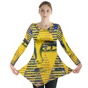 Conundrum II, Abstract Golden & Sapphire Goddess Long Sleeve Tunic  View1
