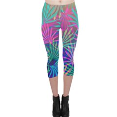 Colored Palm Leaves Background Capri Leggings