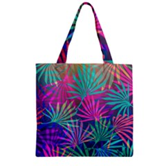 Colored Palm Leaves Background Zipper Grocery Tote Bag