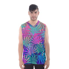 Colored Palm Leaves Background Men s Basketball Tank Top by TastefulDesigns