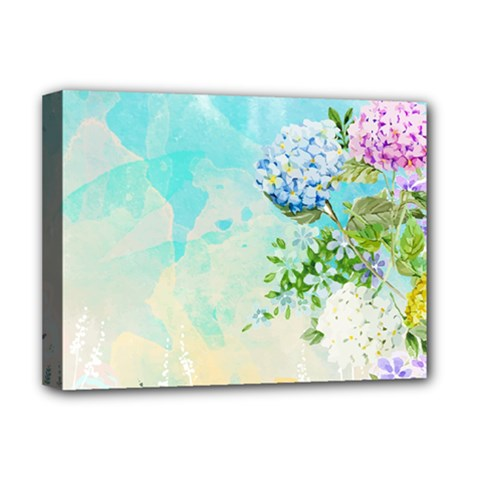 Watercolor Fresh Flowery Background Deluxe Canvas 16  X 12   by TastefulDesigns