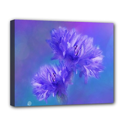 Flowers Cornflower Floral Chic Stylish Purple  Deluxe Canvas 20  X 16   by yoursparklingshop
