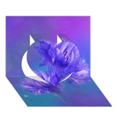 Flowers Cornflower Floral Chic Stylish Purple  Heart 3d Greeting Card (7x5)  by yoursparklingshop