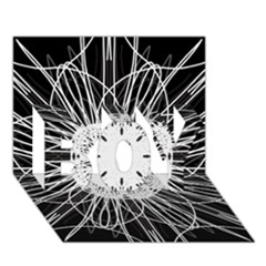 Black And White Flower Mandala Art Kaleidoscope Boy 3d Greeting Card (7x5) by yoursparklingshop