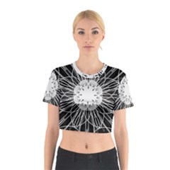 Black And White Flower Mandala Art Kaleidoscope Cotton Crop Top