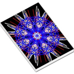 Kaleidoscope Flower Mandala Art Black White Red Blue Large Memo Pads by yoursparklingshop