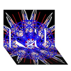 Kaleidoscope Flower Mandala Art Black White Red Blue I Love You 3d Greeting Card (7x5)  by yoursparklingshop