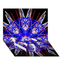 Kaleidoscope Flower Mandala Art Black White Red Blue Love Bottom 3d Greeting Card (7x5)  by yoursparklingshop